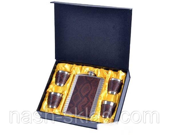 Подарочный набор Металлическая Фляга с кожаными вставками дизайна Змеи, фото 2