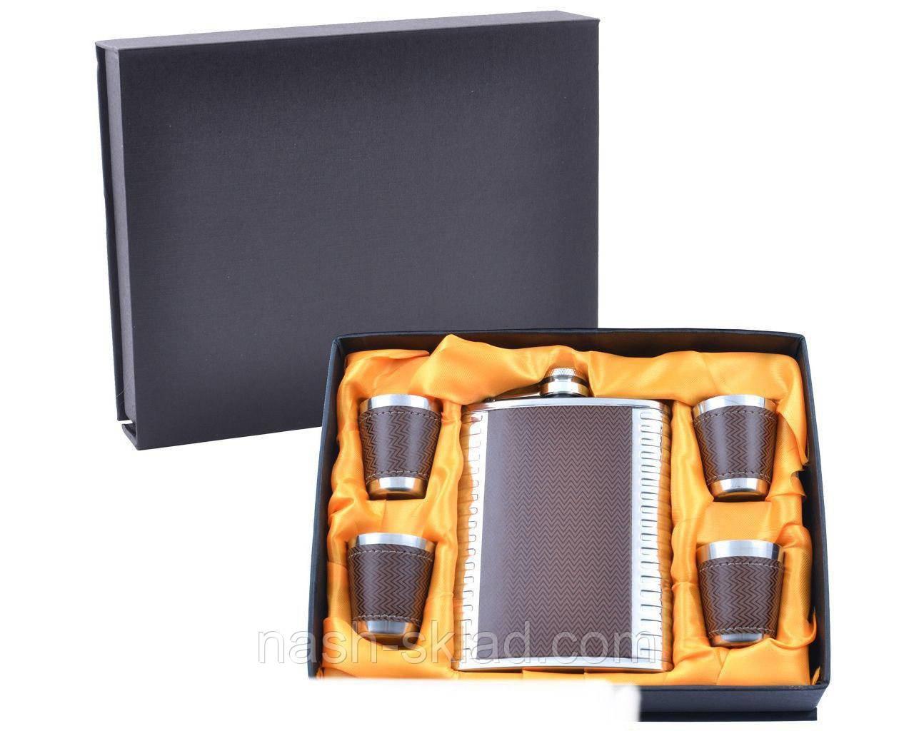 Подарочный набор Металлическая Фляга с кожаными вставками
