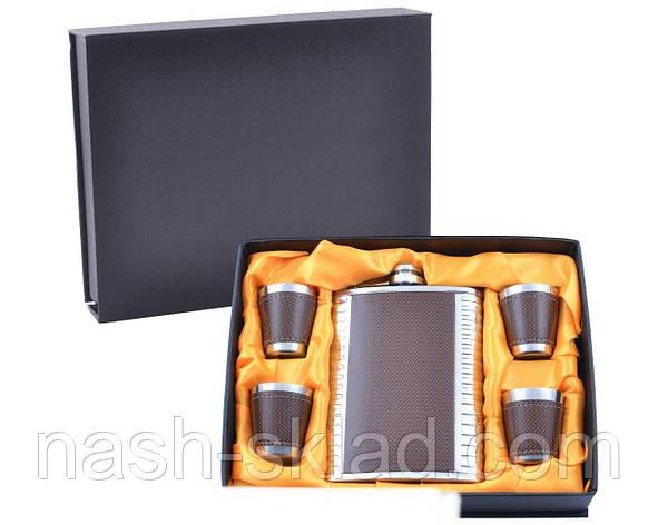 Подарочный набор Металлическая Фляга с кожаными вставками, фото 2