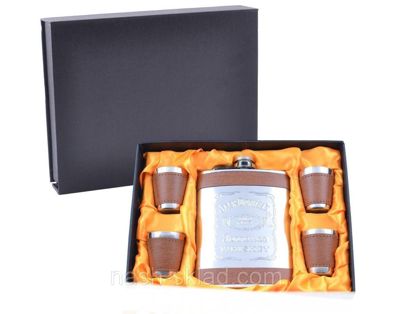 Подарочный набор с Флягой Jack Daniel's (Кожа) Лучший подарок для мужчины на любой праздник