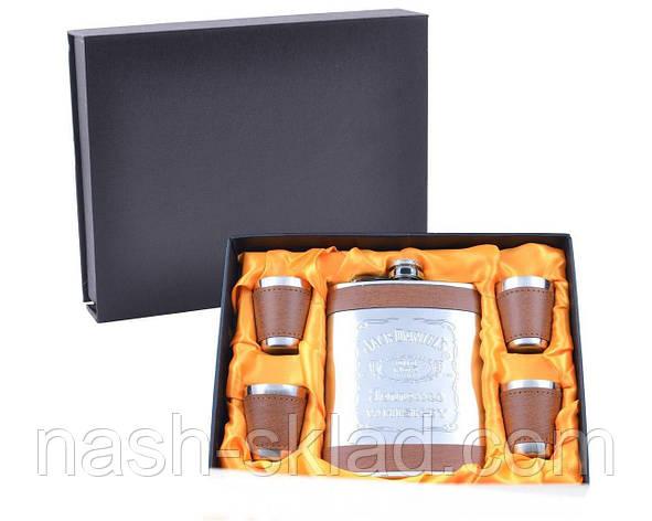 Подарочный набор с Флягой Jack Daniel's (Кожа) Лучший подарок для мужчины на любой праздник, фото 2