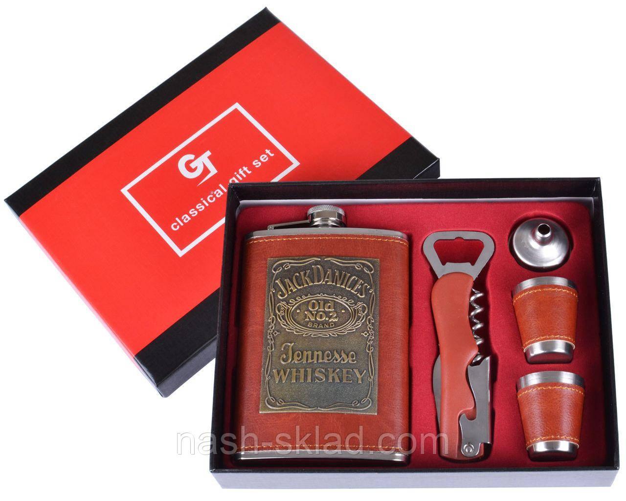 Подарочный набор с Флягой Jack Daniel's (Красная кожа)