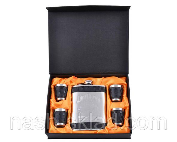 Подарочный набор с Флягой Jack Daniel's Строгий стильный набор для делового мужчины, обтянутый черной кожей, фото 2