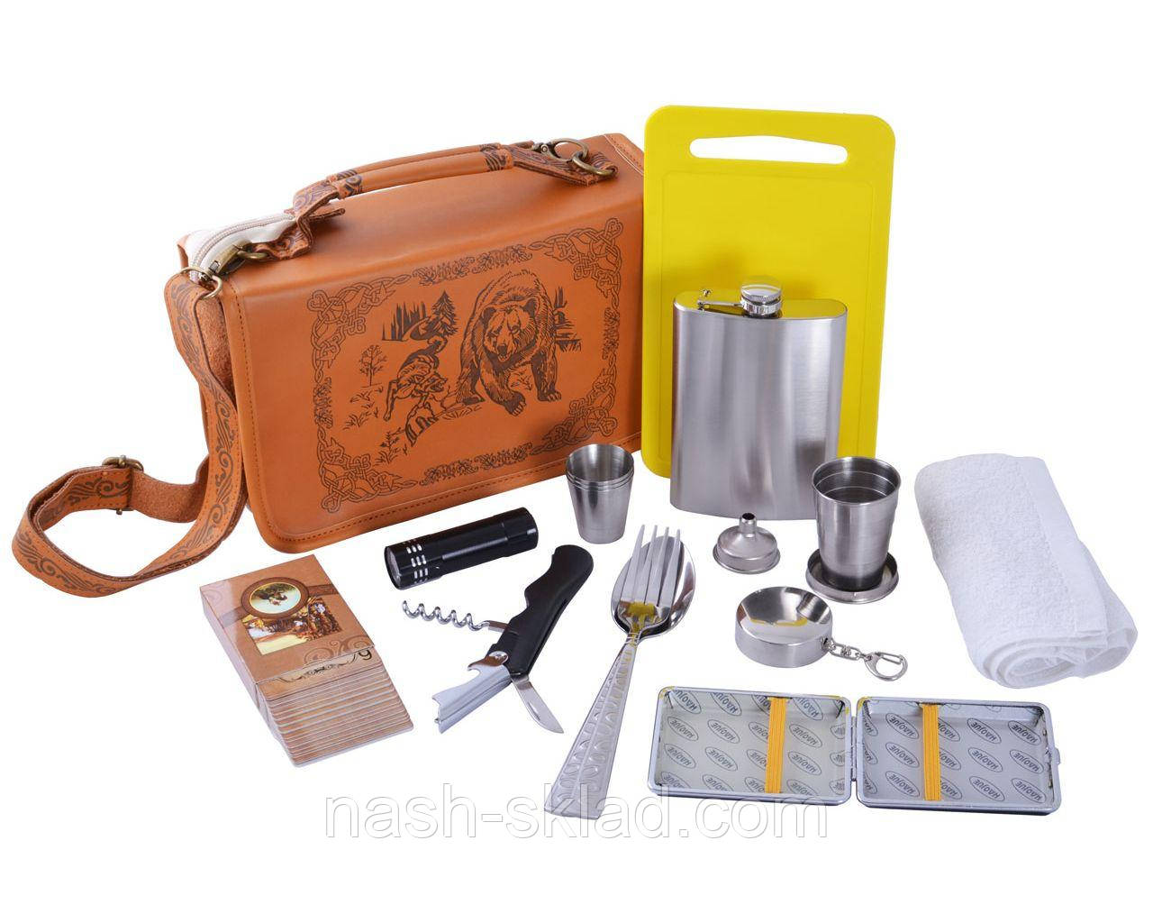 Кожаный подарочный набор с флягой и другими инструментами в сумке для мужчин