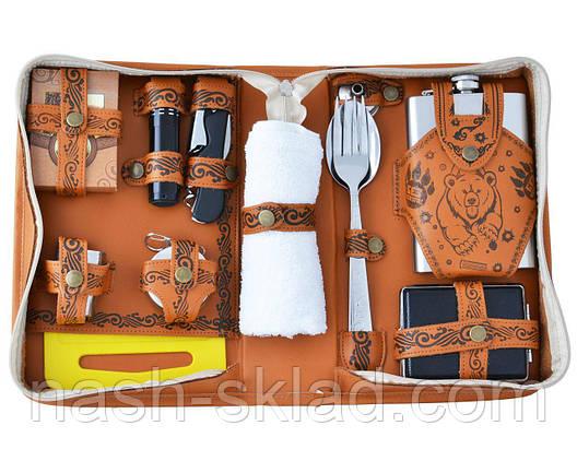 Кожаный подарочный набор с флягой и другими инструментами в сумке для мужчин, фото 2