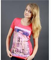 Оригинальная, женская футболка с рисунком от производителя кораловый