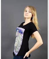 Оригинальная, женская футболка с рисунком от производителя черный