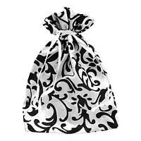 Белый подарочный мешочек 12х16(11) см с вензелями, непрозрачный для корпоративных подарков
