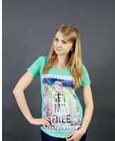Оригинальная, женская футболка с рисунком от производителя бирюзовый