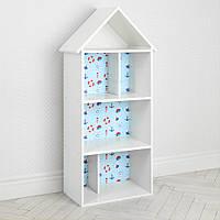 Полочка домик 2020-11-1 детский шкафчик стеллаж домик для книг и игрушек Моряк для мальчика белый с голубым