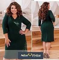 Нарядное темно-зеленое женское платье с пайетками 54,56,58,60,62,64