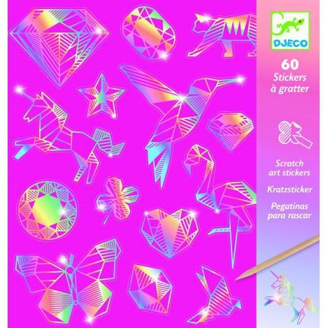 Набор скретч-наклеек металл djeco (бриллиант) Розовый (DJ09736)