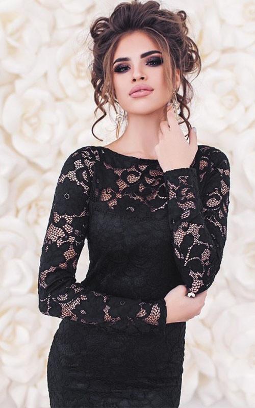 Гипюровое платье облегающее с длинными рукавами черное сексуальное