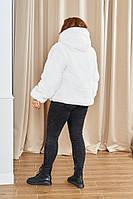 Полушубок с капюшоном искусственный мутон, Стильный белый женский полушубок больших размеров, Белый полушубок, фото 2