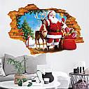 Интерьерная наклейка 3D Санта и олень  50х70см, фото 2