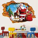 Интерьерная наклейка 3D Санта и олень  50х70см, фото 3