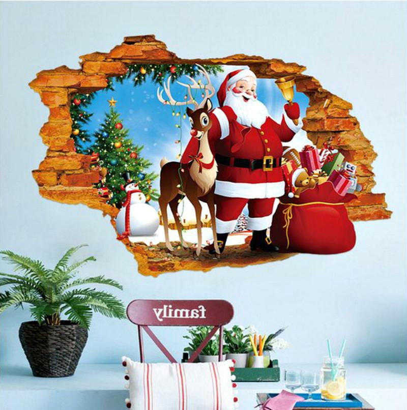 Интерьерная наклейка 3D Санта и олень  50х70см