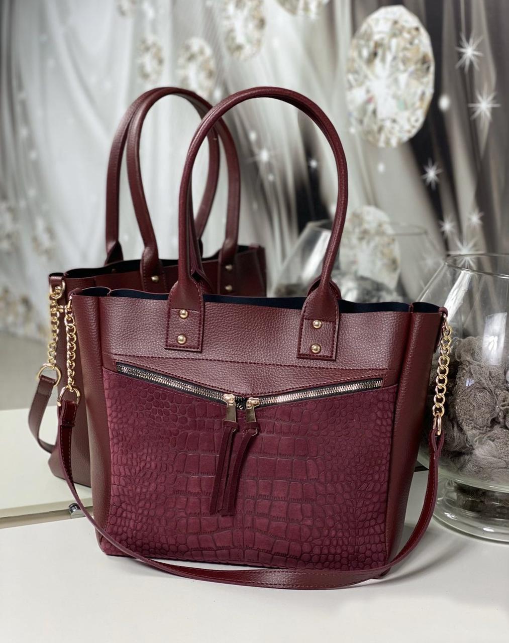 Вместительная женская сумка на плечо модная городская бордовая натуральная замша+кожзам