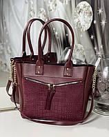 Вместительная женская сумка на плечо модная городская бордовая натуральная замша+кожзам, фото 1