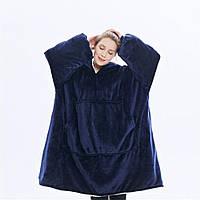 Толстовка-плед с капюшоном HUGGLE HOODIE, двухсторонняя толстовка - халат с капюшоном ФИОЛЕТОВЫЙ