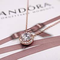 Серебряная цепочка с подвеской Pandora позолота 18 к, фото 1