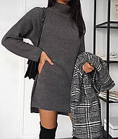 Платье женское на флисе серый графит