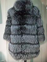 Полушубок из чернобурки поперечка длина 80 см  3/4 рукав  44р 46р 48р 50р