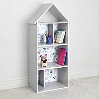 Полочка домик 2020-13-1 детский шкафчик стеллаж домик для книг и игрушек для мальчика девочки Сова
