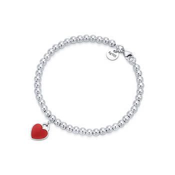 Срібний браслет Tiffany & Co червоне серце