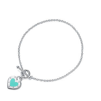 Срібний браслет Tiffany & Co зелене серце