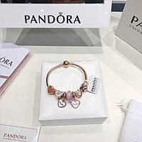 Серебряный набор Pandora (браслет+шармы) позолота 18к, фото 1