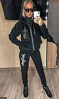 Спортивный костюм теплый модный для полных женщин 830860-3 чёрный Украина 58-60