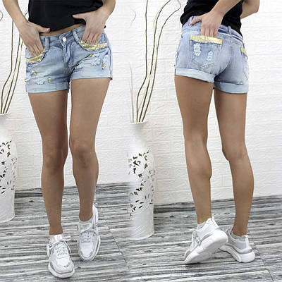 Стильные джинсовые мини шорты с пайетками и потертостями