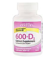 21st CENTURY Calcium 600 & Vitamin D3 (75 таблеток), фото 1