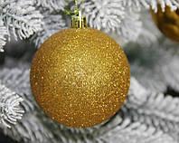 Новогодний шар золотистый микс D 8см 12 шт (Ш_Зол_8)