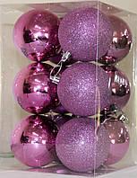 Новогодний шар фиолетовый микс D 6см 12 шт (Ш_Фио_6)
