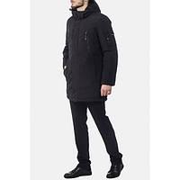 Зимняя длинная черная куртка с капюшоном