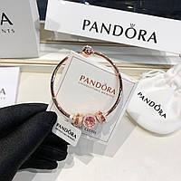 Серебряный набор Pandora (браслет+шармы) позолота 18 к, фото 1