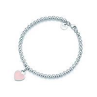 Серебряный браслет Tiffany & Co розовое сердце, фото 1