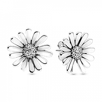 """Серебряные серьги-пусеты Pandora """"Сверкающие маргаритки"""" 298812C01"""