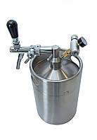 Мини-кег для пива 5 литров под баллончик СО2 с краном и манометром