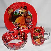 Подарунковий набір дитячого посуду зі скла Маша і Ведмідь