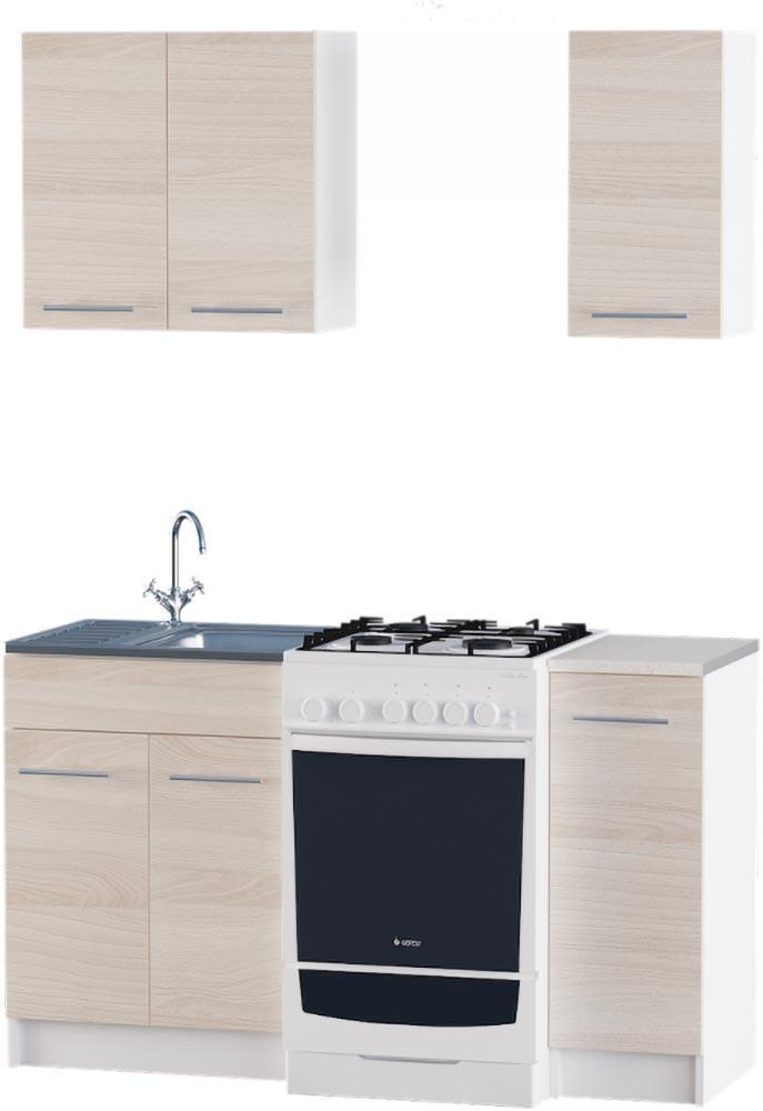 Кухня Эко №2 набор 0.9 м ЭВЕРЕСТ Белый + Шимо светлый, фото 1