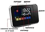Часы метеостанция с проектором времени на стену Color Screen 8190 календарь, Годинник метеостанція з, фото 4