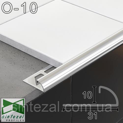 Соединительный угловой профиль для плитки 10мм.,11х31х2500мм. Полированная нержавеющая сталь.