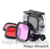 Защитный корпус чехол аквабокс для экшн камеры GoPro Hero 8 Black водонепроницаемый с тремя фильтрами DE21DF