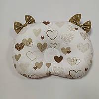 Ортопедическая подушка для младенца masterwork холофайбер 24*32 см. белый с беж сердечками