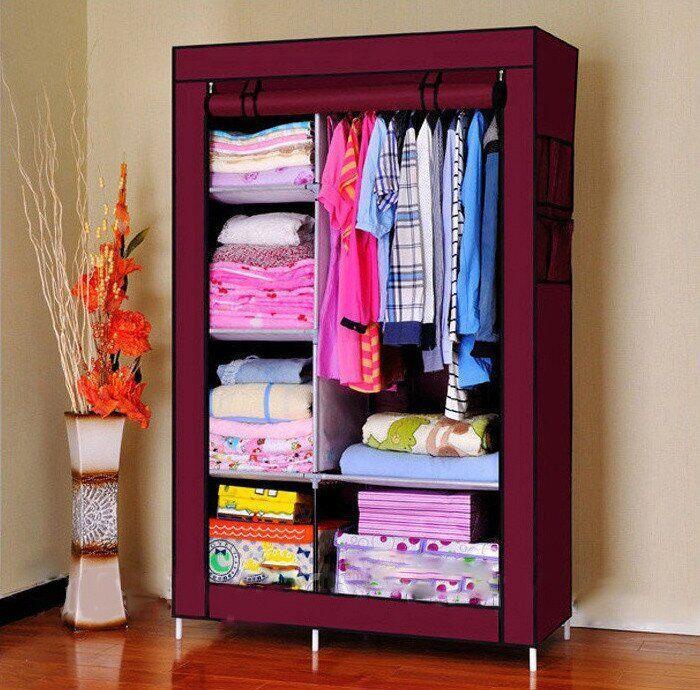 Тканевый шкаф складной STORAGE WARDROBE KM-105 на 2 секции (106х45х170 см), органайзер для одежды, Товары для