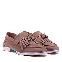 Туфлі жіночі замшеві рожеві на низькому каблуку 36