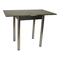 Стол кухонный раскладной Тавол Компакт 50 см х 60 см х 75 см ноги металл хром Венге